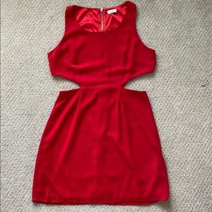 Red dress with cutouts